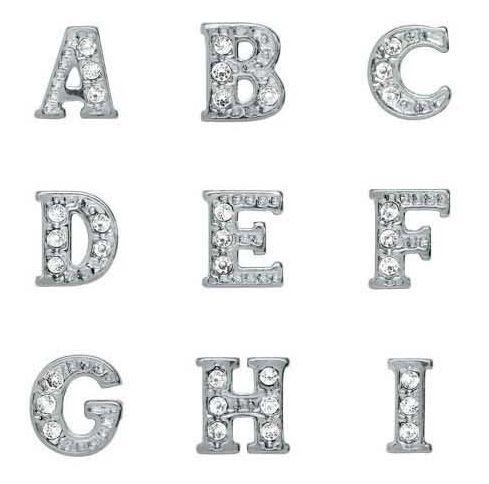 Strass Argent Plaqué Alphabet Lettres A-Z Alliage Flottant Charms Fit Pour Verre Médaillon DIY Bijoux Livraison gratuite