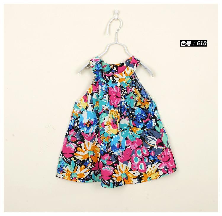 21 renk çiçek baskılı elbise yaz bebek kız için yelek elbise pamuk yaz elbise çiçek baskı pamuk yaz kolsuz elbise vestidos