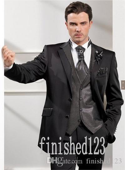 New Arrivals Two Buttons Black Groom Tuxedos Notch Lapel Groomsmen Best Man Wedding Prom Dinner Suits (Jacket+Pants+Vest+Tie) G3997
