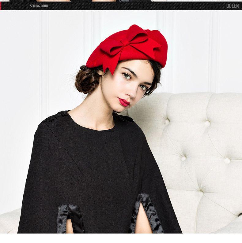 Marchio di qualità Classic Red Solido Nero Bowler Beret berretti di lana il cappello di feltro di inverno delle donne convenzionali eleganti Cappello Chiesa Wedding Hat Fedora