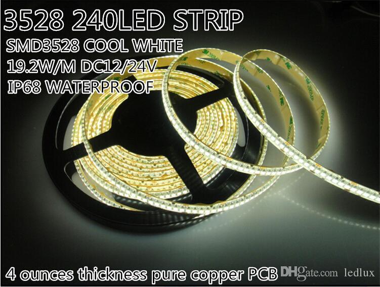 1200led / 5m LED şerit 3528 5m su geçirmez IP68 240led / m 24 V sıcak beyaz soğuk beyaz