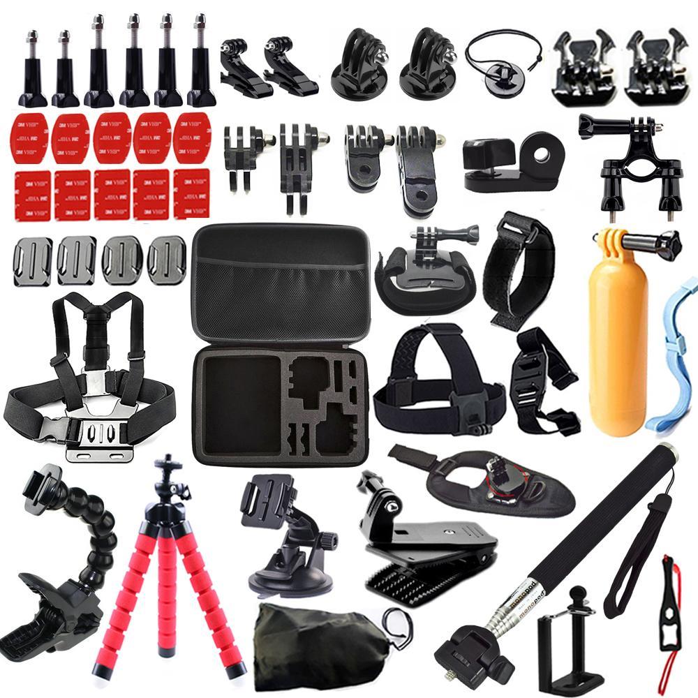 Freeshipping kit Custodia per GoPro Hero 5/4/3 / SJCAM Sj4000 / Xiaomi Yi / Eken H9 H9R Mount Clip Treppiedi Action Camera Accessori
