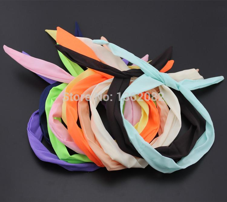 20pcs Girl Women's Mixed Solid Color Rabbit Bunny Ear Ribbon Wire Headbands Scarf Hair Bands Hair Accessories MF46