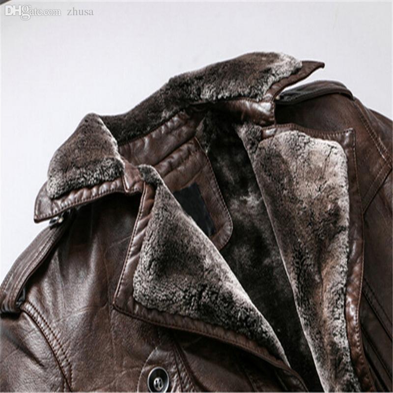 سقوط-2016 العلامة التجارية الجديدة للرجال جلدية حقيقية الفراء الصوف معطف سترة الرجل سترة جلدية PU ذكر أبلى زائد كبيرة الحجم 3XL jaqueta دي couro
