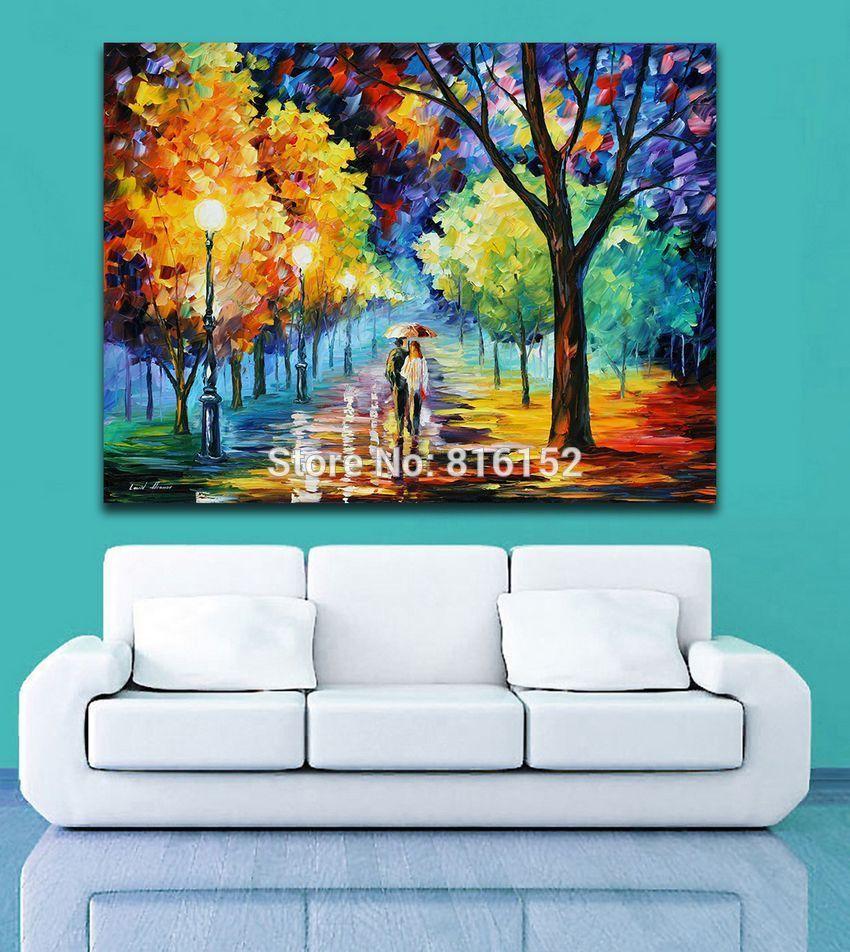 Palette Knife Pittura a olio Night Alley Camminare sotto la pioggia Stampe su tela Disegno Murale Art for Living Room Wall Decor