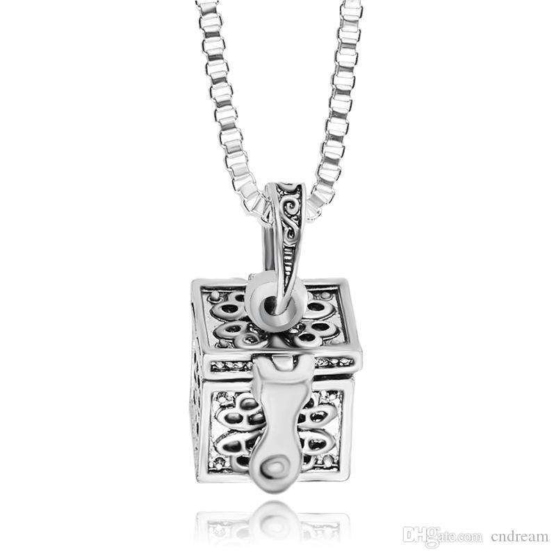 Antik Gümüş Aşk Madalyon Ölümesi Külleri Kolye Açılabilir Kutu Kremasyon Lockets Kolye Keepsake Yıldönümü Tutun Mücevherat Ve Sandy