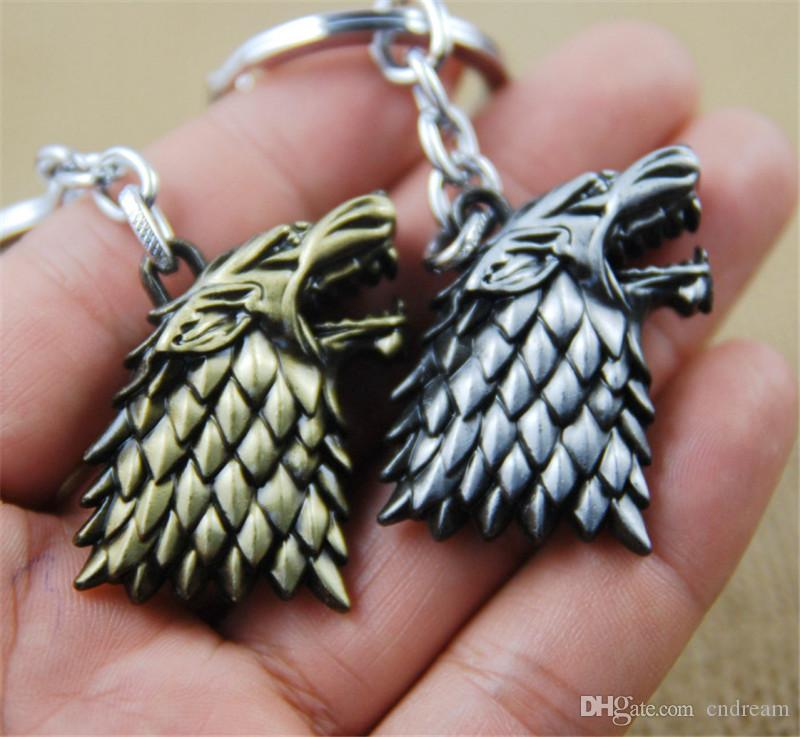 Game of Thrones House Stark Wolf Keychain Key Ring Wolf Head Key Rings Fashion jewelry for Women Men Retail Packing Drop Ship 170458
