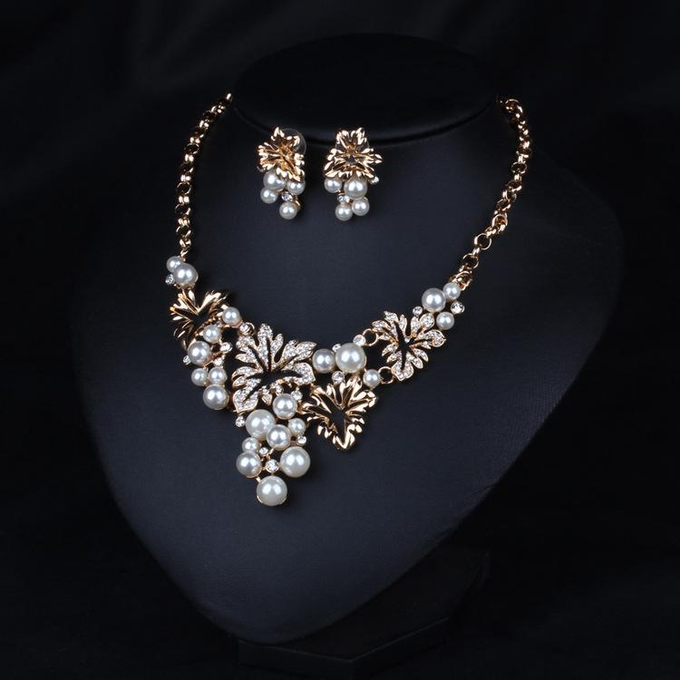 New Gold,Imitation Rhodium Plated Flower Design Stud Earrings and Pendant Necklace 2016 Pearl Jewelry Set Necklace and Earrings N519