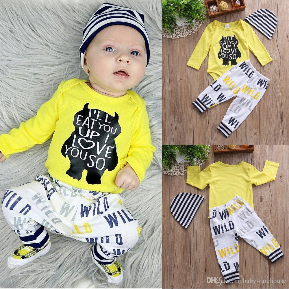 Baby Boy Clothes 2018 Newborn Baby Clothing Set Infant Long Sleeve Bear Letter Printed Yellow Romper + Pants + Hat 3Pcs Boys Clothing Set