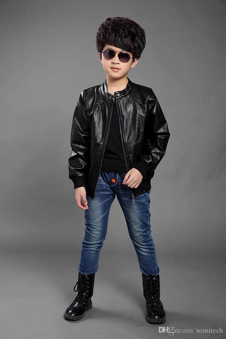 Leather jackets for kids - Cheap 2016 Children Pu Leather Jacket Zipper Kids Boys Winter Jackets Coats Children Clothing Jackets For Boys Motorcycle Jackets From Dropshipper Somitech