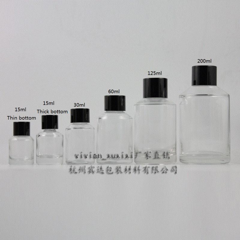 15ml 투명 유리 병 검은 색 알루미늄 스크류 캡과 감속기가있는 에센셜 오일 또는 액상 크림 또는 로션, 유리 용기