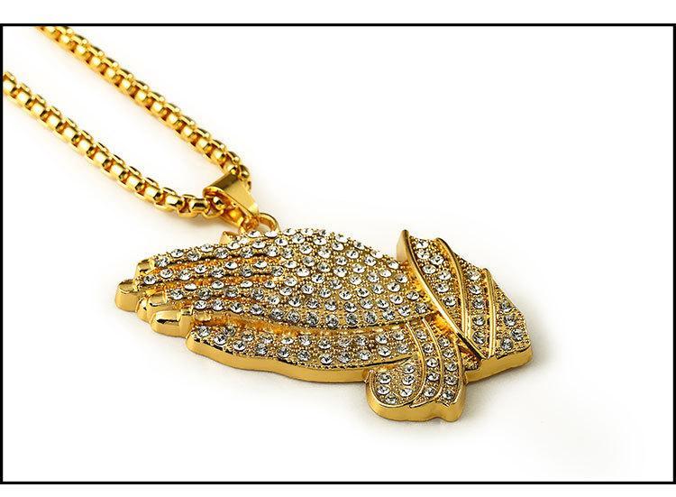18K Real Gold Plated Men's hip hop Big Buddha's Hand Pendant Necklace 80cm Long High Quality Rock Hiphop Big bergamot Necklace men Chain
