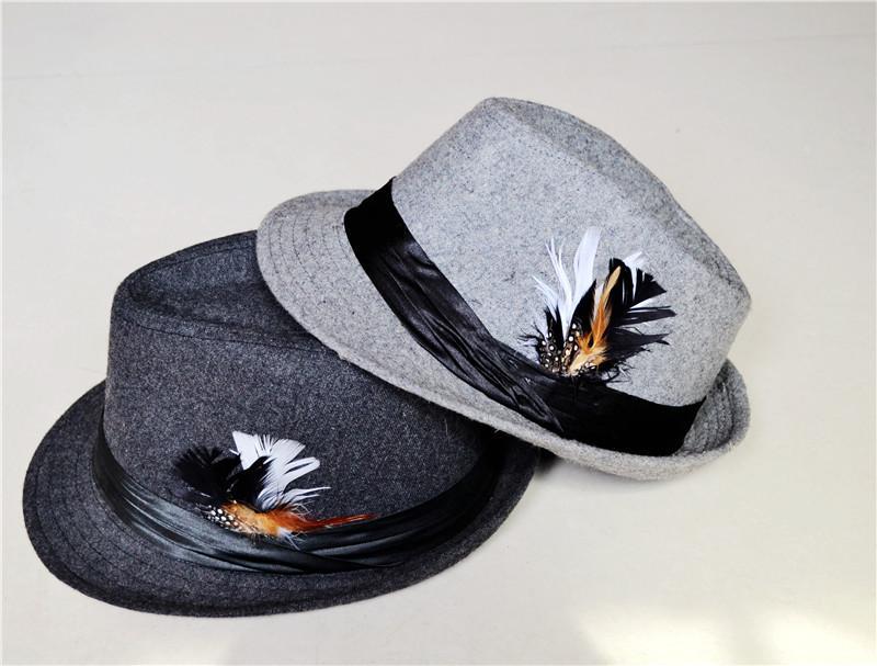 남자와 여자를위한 깃털 모자 모자와 함께 빈티지 Trilby 회색 양모 Fedoras 무료 배송