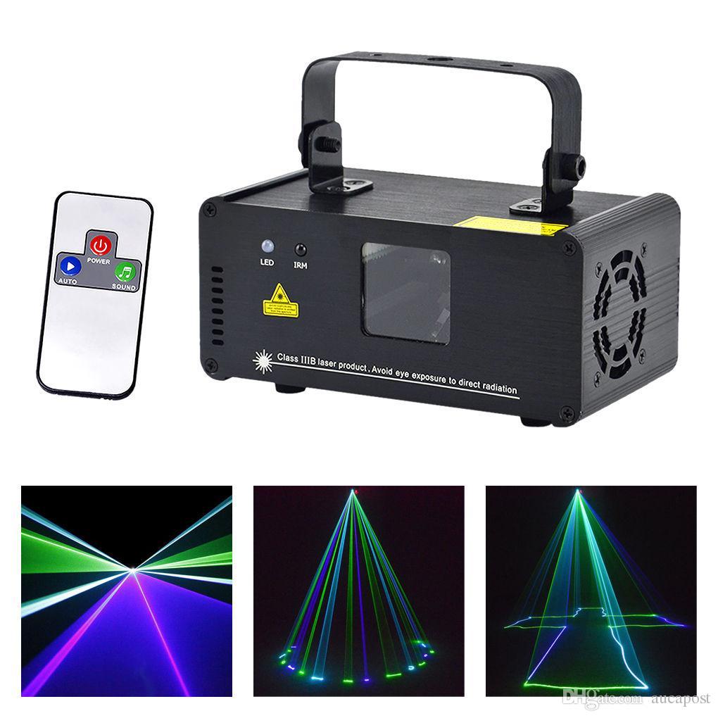 AUCD Nuovo telecomando 8 CH DMX Mini verde blu ciano GBC 200mW Laser DPSS Stage Lighting Scanner DJ Party Show LED Proiettore Luce DM-GBC200