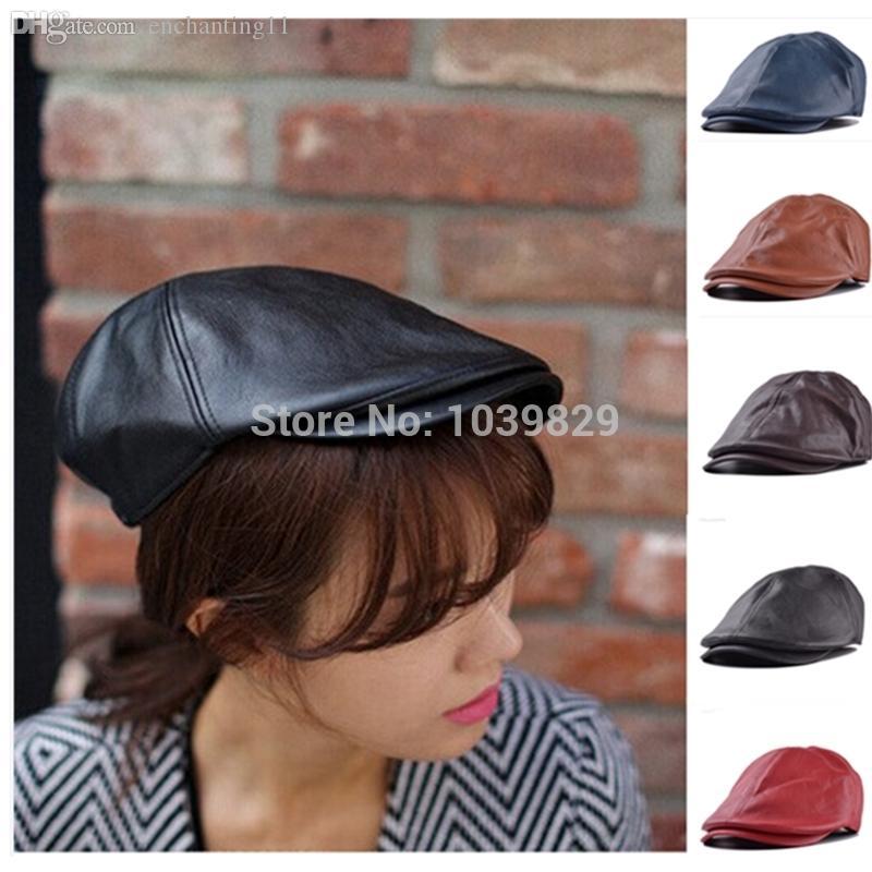 All'ingrosso-Vendita calda di alta qualità in pelle Lvy Gentleman Uomini Cap Bonnet Newsboy berretto Cabbie Gatsby piatto cappello da golf marrone colore nero