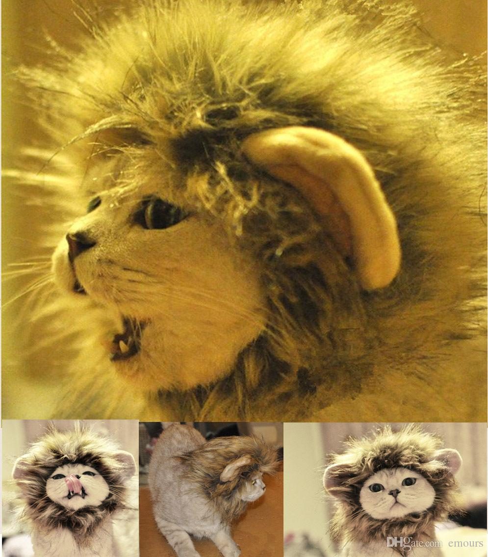 1e47de606 Pet Costume Lion Mane Wig for Dog Cat Halloween Clothes Fancy Dress Up fits  Most Cats