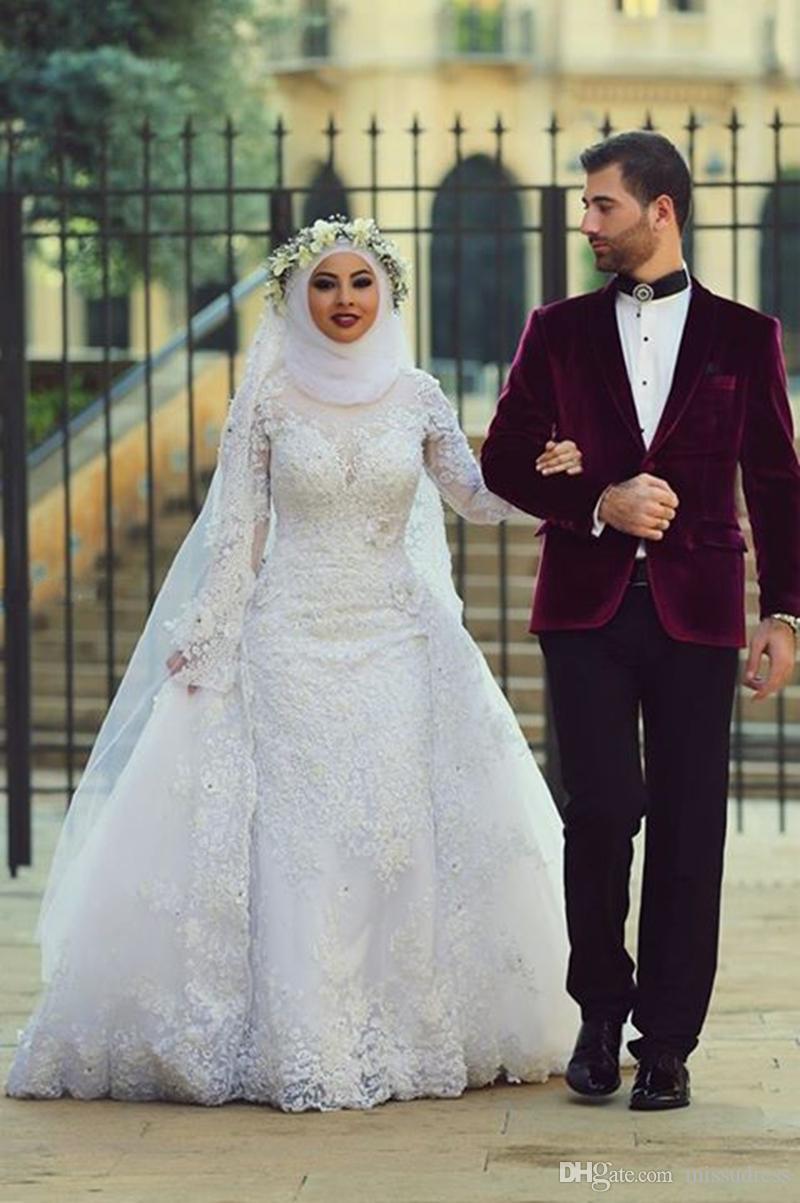 Vestidos de novia 2016 Vestidos de boda árabes musulmanes con encaje de tren desmontable Apliques mangas largas Vestidos de novia Hijab