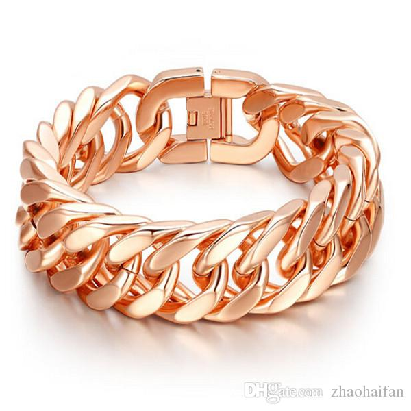 ZHF Bijoux Mode Bracelet en or rose 18 carats bracelet hommes et femmes bracelet style punk avec une belle boîte