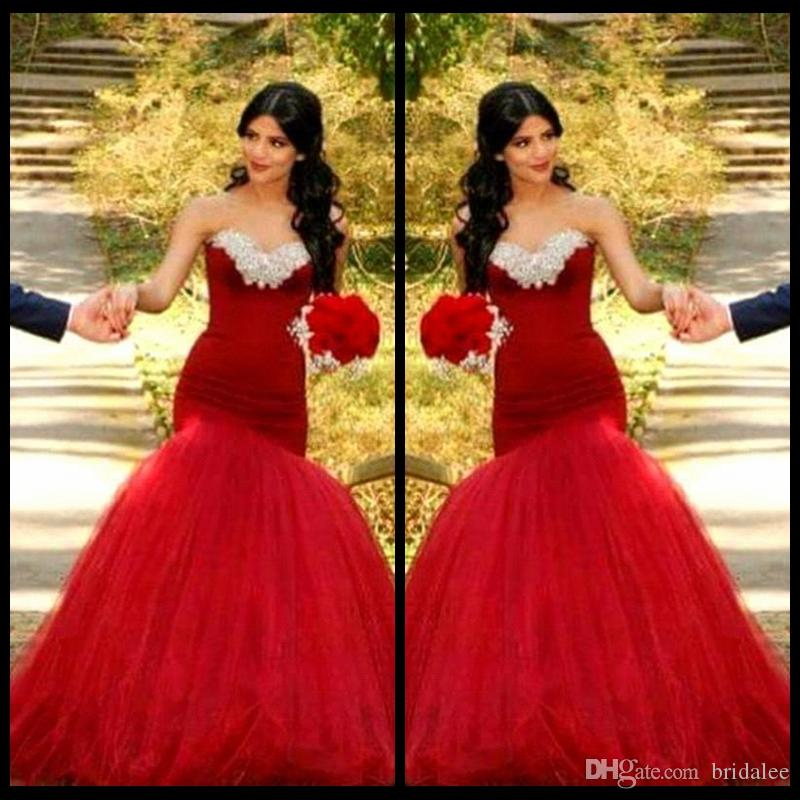Vestido De Noiva Luxury Crystals Beaded Mermaid Wedding Dress 2015 Romantic Backless Red Tulle Bridal Dresses Robe de Mariage