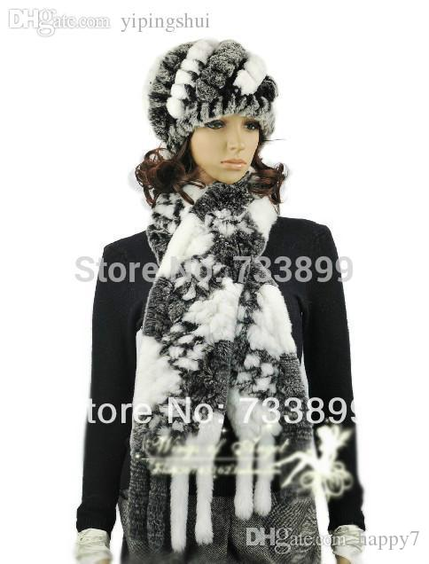 Wholesale-H289-Elegant plaid gray white cap with natural rex rabbit fur autumn knitted warm women fur scarf and hat set winter
