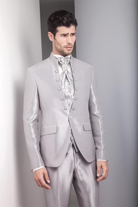 2015 vintage silver grey mens wedding suits tuxedos stand collar ...