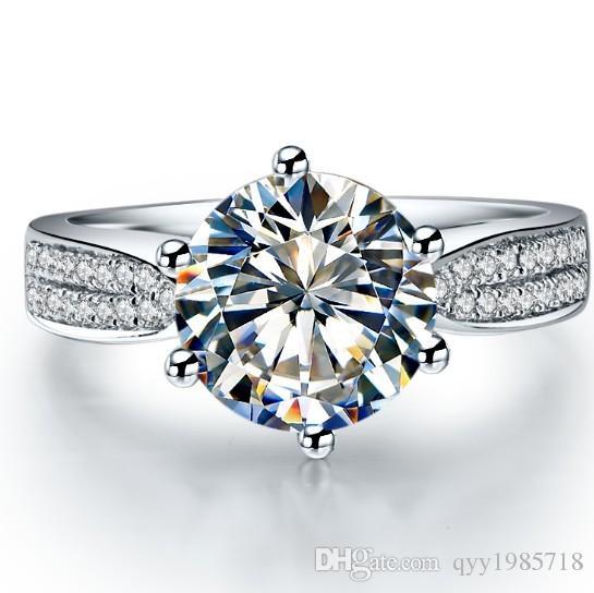 شحن مجاني فاخر 3ct سونا الاصطناعية خاتم الماس للنساء 925 الاسترليني والفضة والمجوهرات البلاتين مطلي خاتم الخطوبة