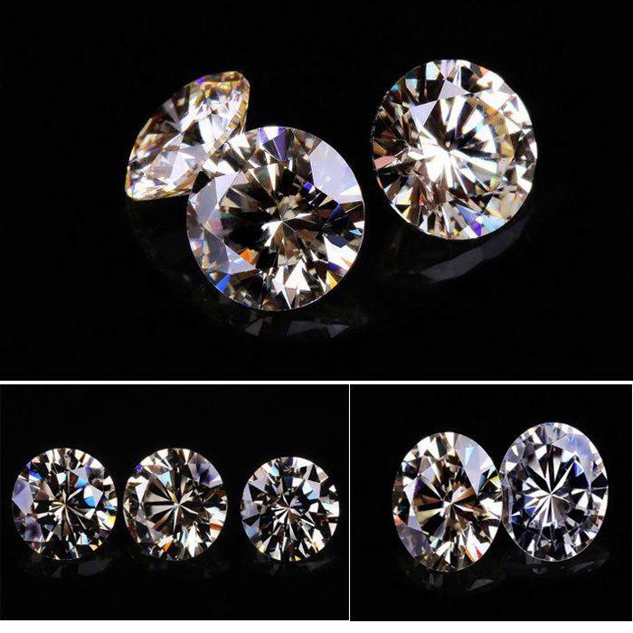 200psc / Lot جودة عالية 3A واضح زركون الاصطناعية الأحجار الكريمة حجارة كريمة للمجوهرات 5.25-8mm