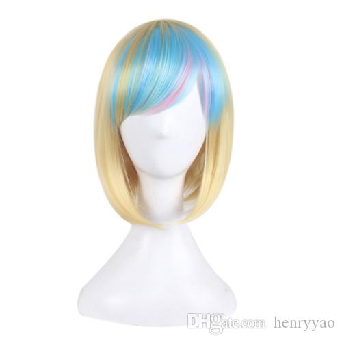 Cosplay Wig Short Animation Bob Hair Wigs Side Bang Wig for Blonde Blue Colorful Women Synthetic Wig