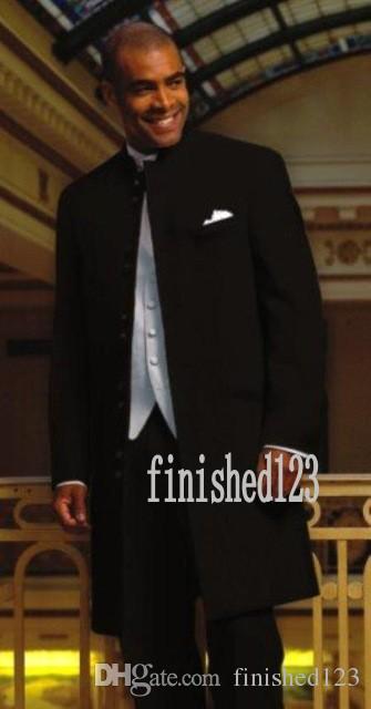 세련된 더 많은 버튼 긴 검은 색 신랑 턱시도 스탠드 칼라 신랑 맨 베스트 맨 웨딩 댄스 파티 정장 (자켓 + 바지 + 조끼 + 넥타이) G5196