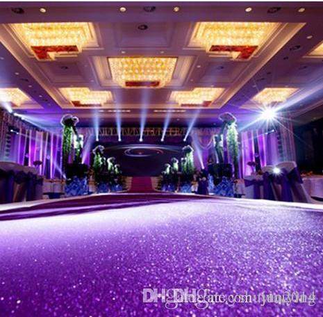 패션 1m 넓은 10m 카펫 반짝이 어두운 자주색 진주 빛 웨딩 장식 카펫 T 역 통로 웨딩 소품 용품 용품
