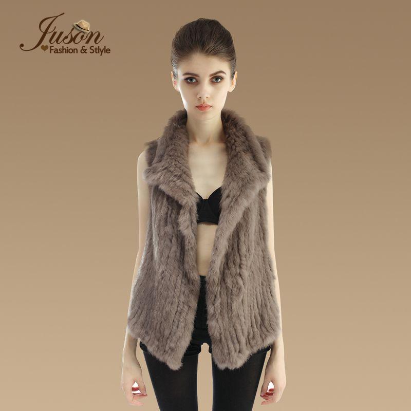 Wholesale-Fashion Real Knitted  Fur Vest Natural Female Irregular  Fur Gilet Genuine Winter Warm  Fur Waistcoats