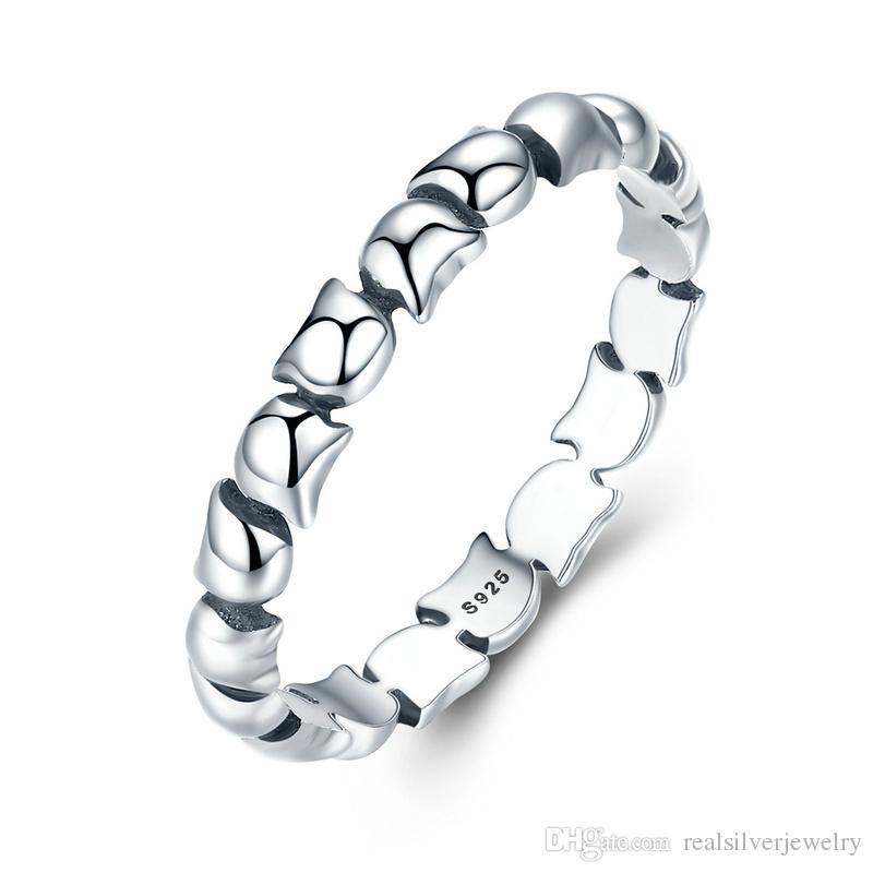 Original Design 925 Sterling Silber Nette Katze Stapelbar Fingerring Für Frauen Hochzeit Tier S925 Silber Schmuck SCR047