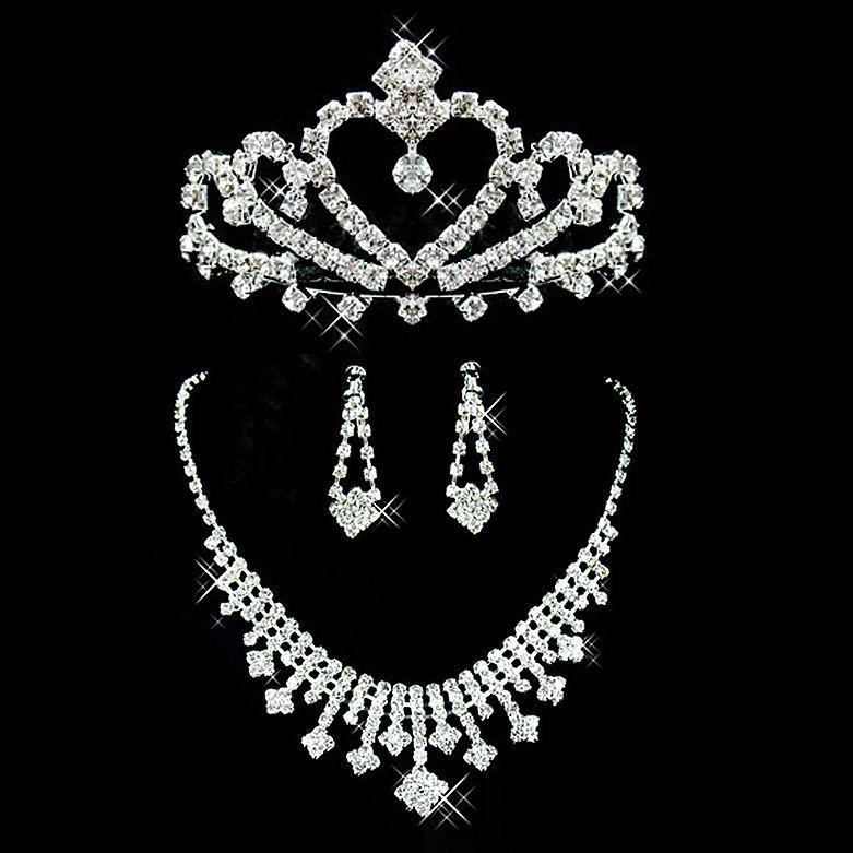 2019 Bijoux De Mariage Mariage De Mariée Strass Accessoires Collier Et Boucle D'oreille Oreille Style Ensembles Argent Plaqué Nouveau Sans étiquettes
