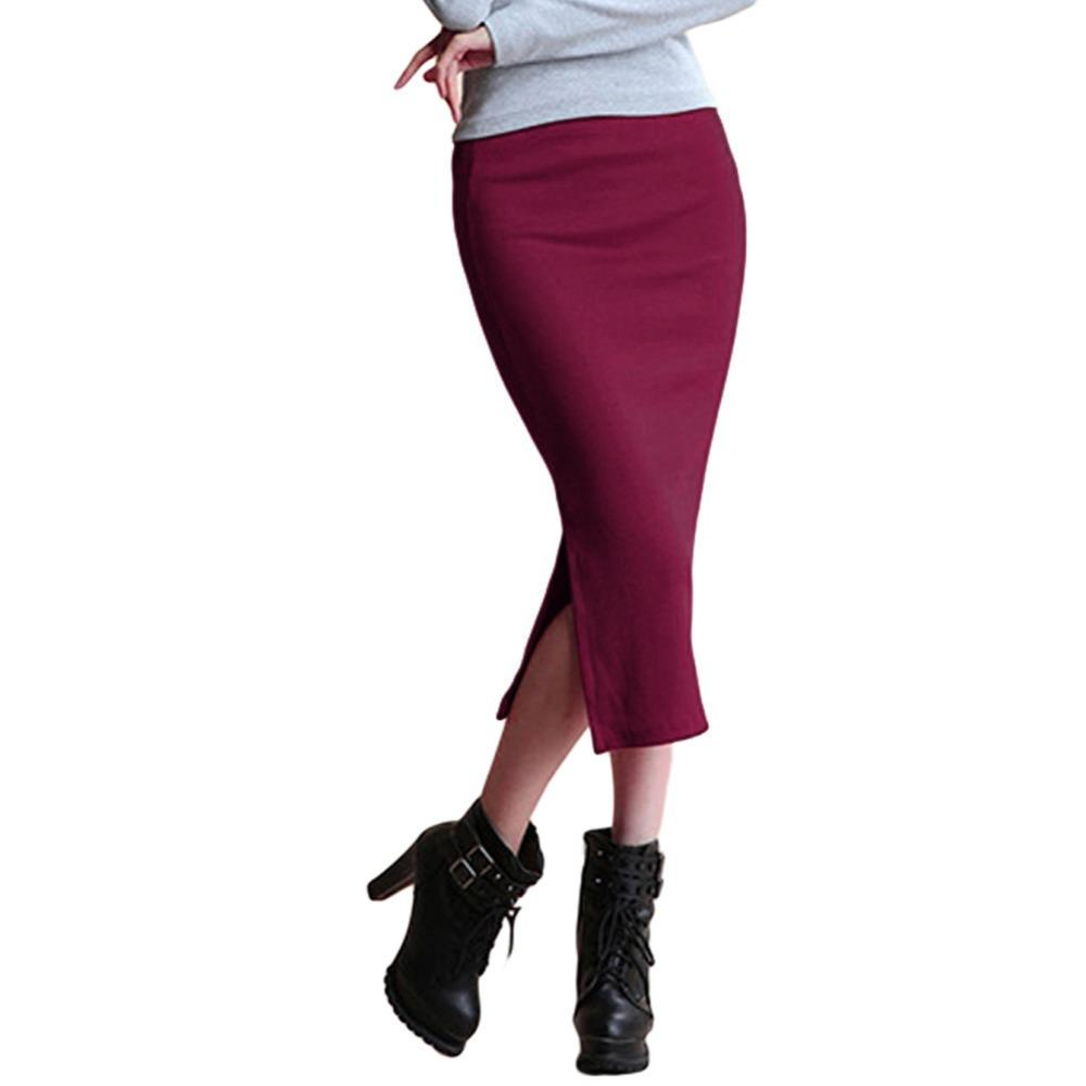 Atacado-Hot New Sexy Mulheres Chic Lápis Saias Office Look tricô Mid-Calf Solid saia Casual Slim Hip saias das senhoras Saias Feminino