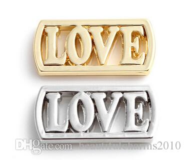 20PCS/lot Silver Gold Plated Alloy LOVE Letter Floating Window Plates Fit For 30mm Magnetic Glass Charms Locket