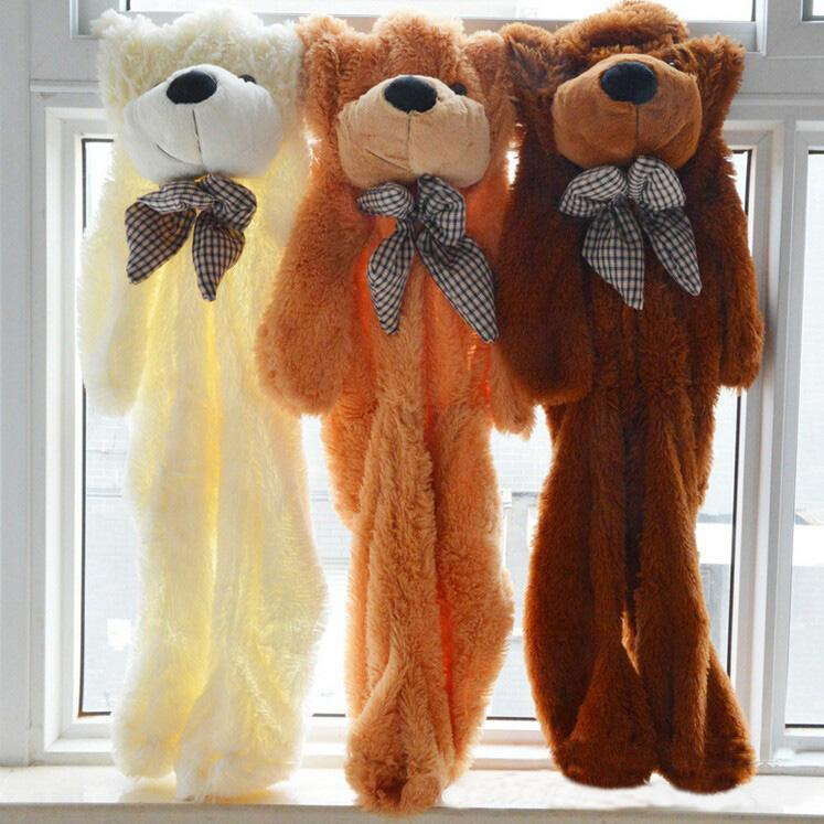Huge Size Plush Teddy Bear 200cm Unstuffed Toy 79in Brown Toys Gift Baby Doll