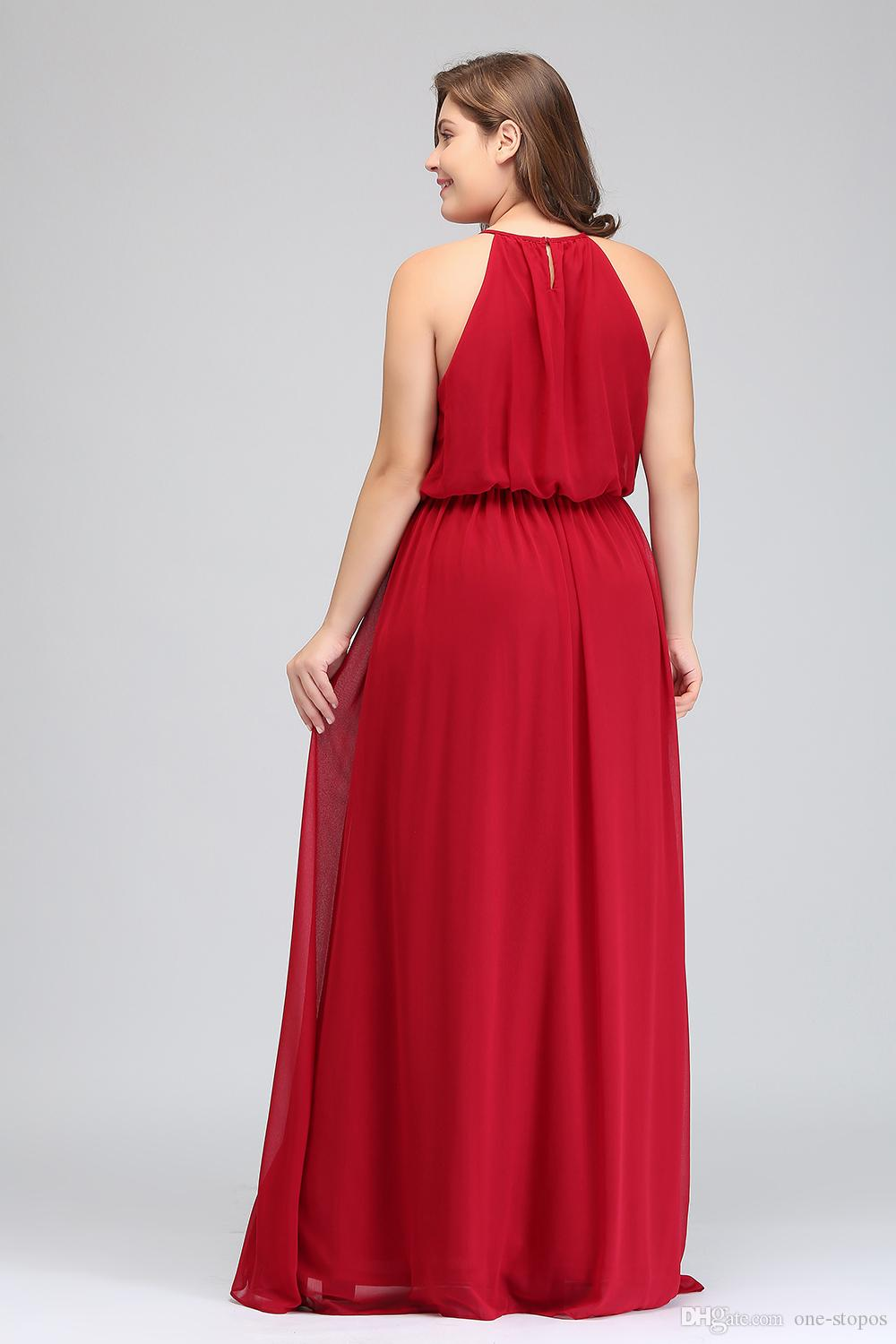 2018 Designer Long Plus Size Bridesmaid Dresses Cheap Red Chiffon Maid Of  Honor Gowns Floor Length Halter Prom Party Dress CPS618 Bridal Dressing ...