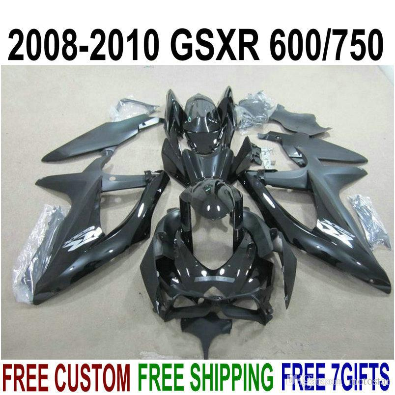 Kit de carénage en plastique pour SUZUKI GSXR750 GSXR600 2008-2010 K8 K9 tous les carénages noirs brillants GSXR600 / 750 08 09 10 set de motos KS48