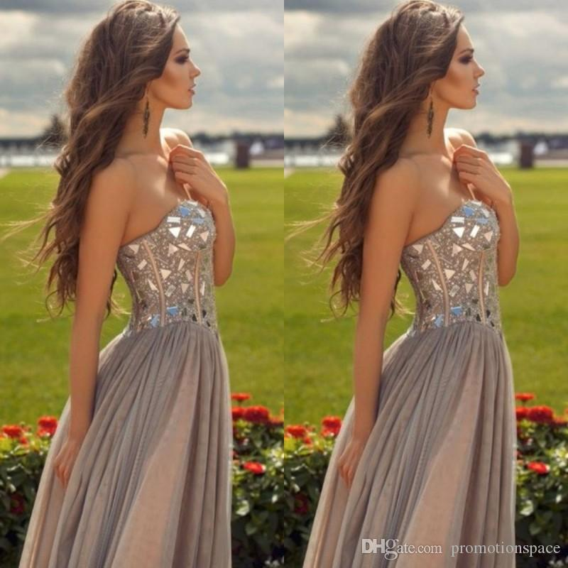 2015 economici in chiffon grigio lunghi prom dresses innamorato pavimento lunghezza sparkly corsetto rhonestone prom dresses abiti da sera formale del partito
