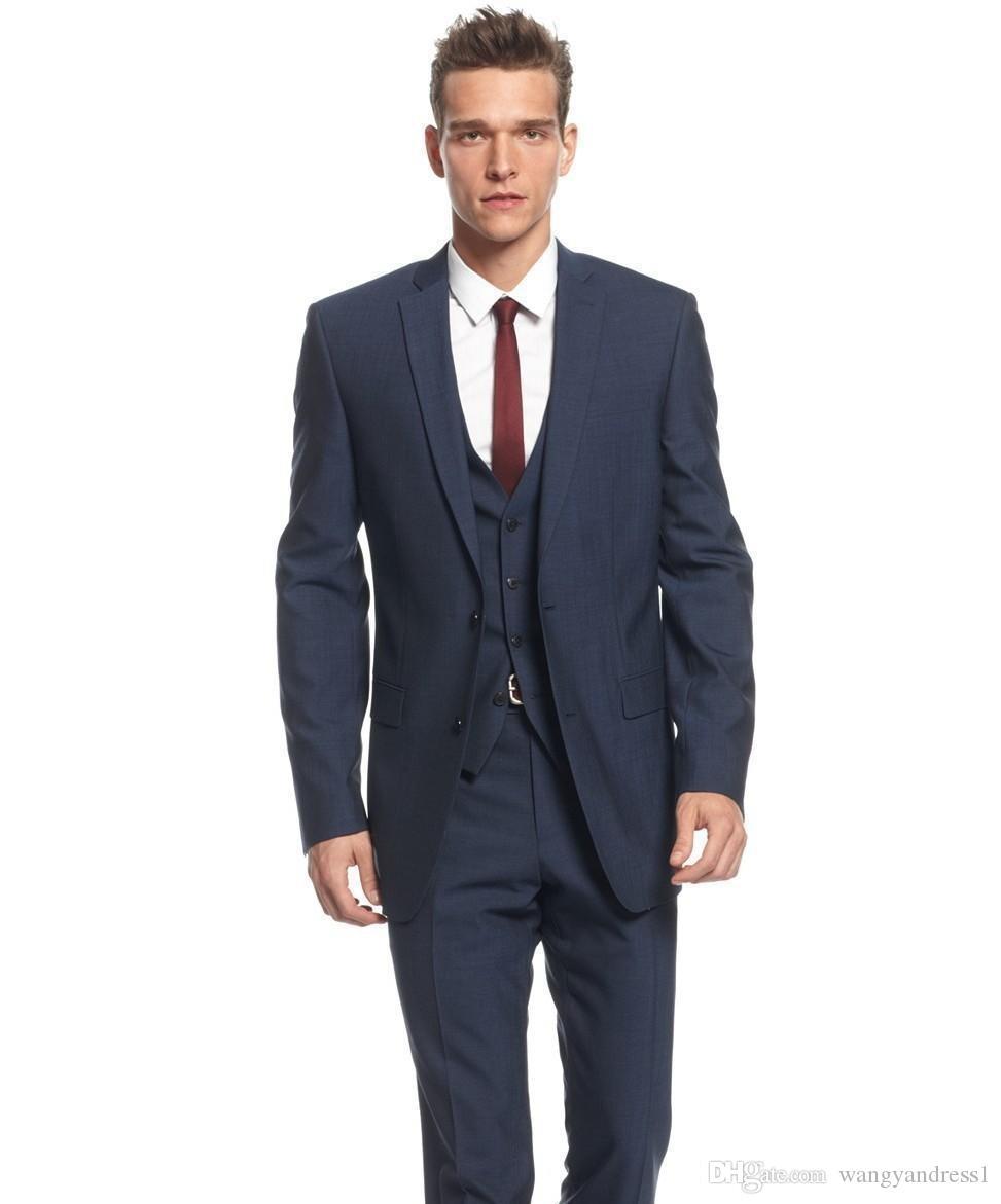 Nuovo design Su misura Abiti da sposa blu navy Smoking dello sposo bel completo Abiti formali Abiti da sposo per uomo (giacca + pantaloni + gilet)