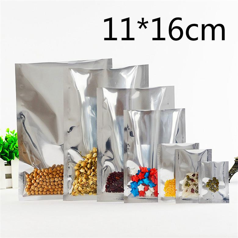 11*16cm Silver Open Top Aluminum Foil Vacuum Pouches Packaging Pack Bag Clear Heat Seal Bags Food Storage Package Packing Bag