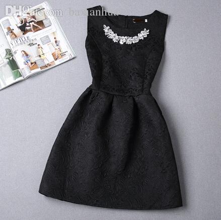 도매 - 2016 새로운 도착 여성 드레스 Vestidos 귀여운 패션 빈티지 볼 가운 민소매 고체 O-목 여름 아플리케 여성 드레스