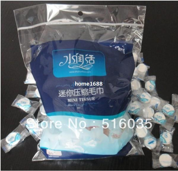 Free Shipping!Magic Compressed Travel Towel Nonwoven pill towel ,hand towel,Papper Mask ,1pc/opp packaging 100/lot