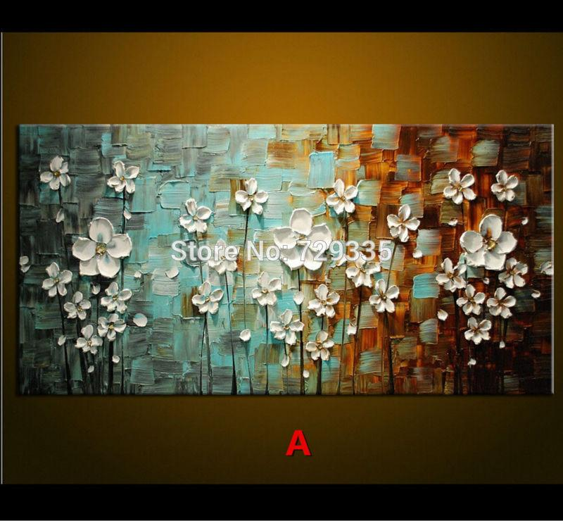 2018 oil painting palette knife thick paint white flowers painting flowers59b1 mightylinksfo