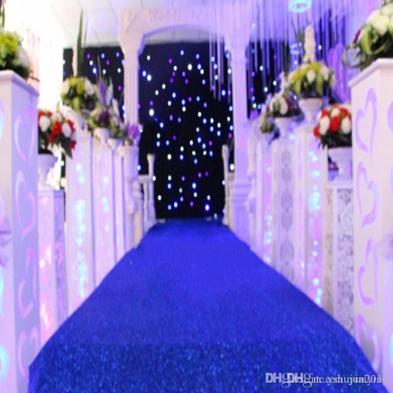 10 m / rollo de 1,2 m de ancho Brillante Royal Blue Pearlescent Decoración de la boda Alfombra T estación Pasillo Corredor para accesorios de boda Suministros Envío gratis