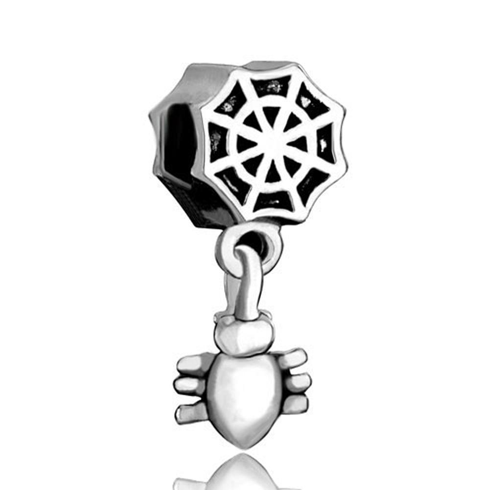Sterling Silver 3D Black Onyx Crawling Spider Dangle Charm Bead For Bead Charm Bracelet