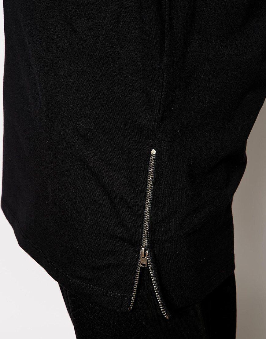 Black t shirt with zipper - Black T Shirt With Zipper Hot Sale Fashion Fitness Long Sleeve T Shirt Side Zipper