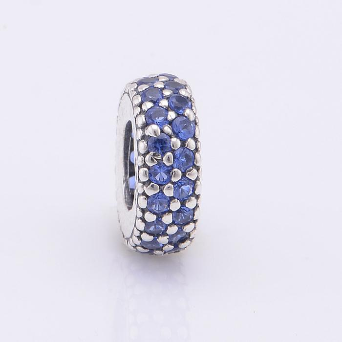 Silver Beads Fits Pandora Charms Bracelet 925-Sterling-Silver Pave Midnight Blue Zircon Spacer Bead Charm DIY Jewelry