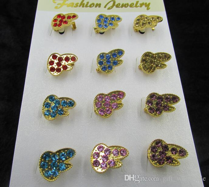12pcs/set Gold Plated Alloy Diamante Crystal Rhinestone Sun Flowers and other Different Styles Pin Brooch 10 sets for choices