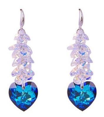 два цвета Кристалл винограда строка сердце Леди серьги (6*1.8 см) (xgspc)